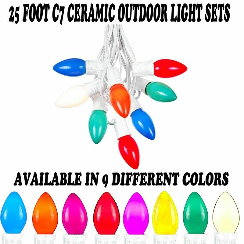 Novelty String Lights Christmas : Novelty Lights C7 Outdoor Ceramic Christmas String Light Set -White Wire- 25 eBay