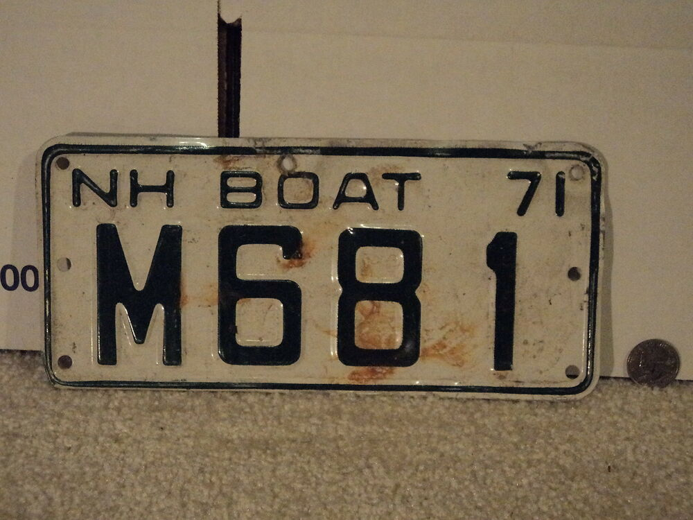 1971 new hampshire boat license plate m681 nh ebay for New hampshire fishing license