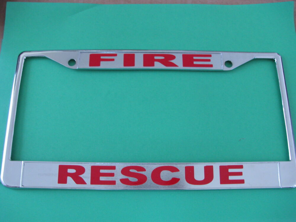 Fire Rescue License Plate Frame Chromed Cast Metal 814980