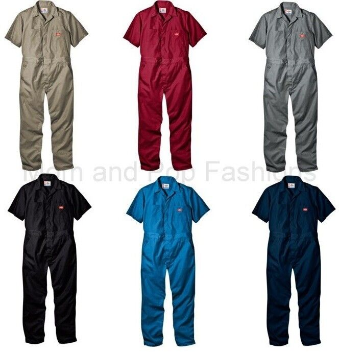 Mens DICKIES  33999 Short Sleeve COVERALLS Black Red Grey Khaki Blue acc792f53af
