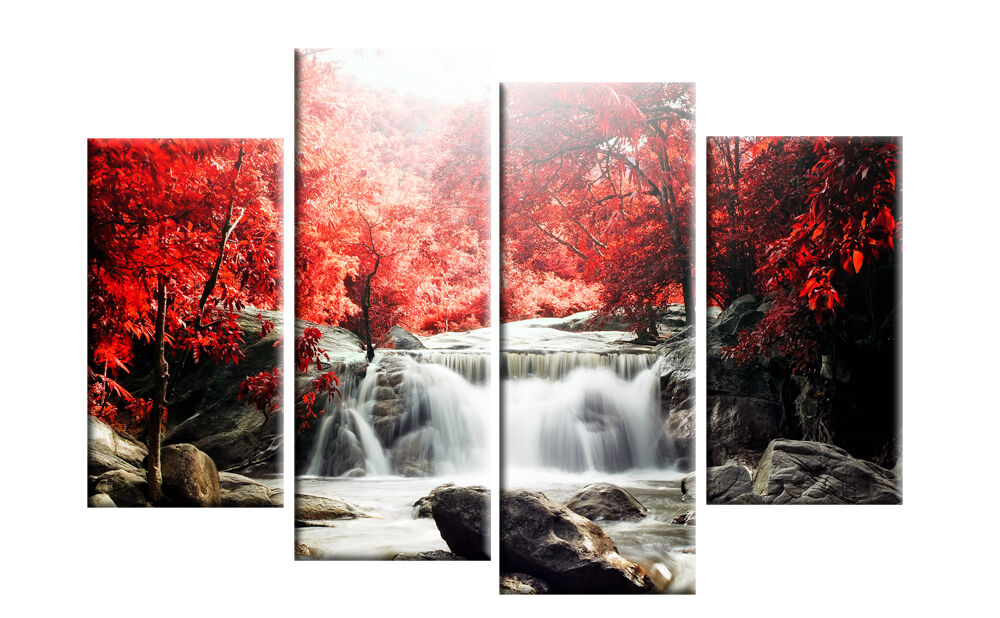 Red autumn forest waterfall canvas wall art picture 4 for Red wall art