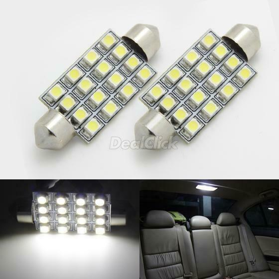 2pcs 16 smd bright white led bulbs for 12v car interior light dome map bulb 211 ebay for Led car interior lights ebay