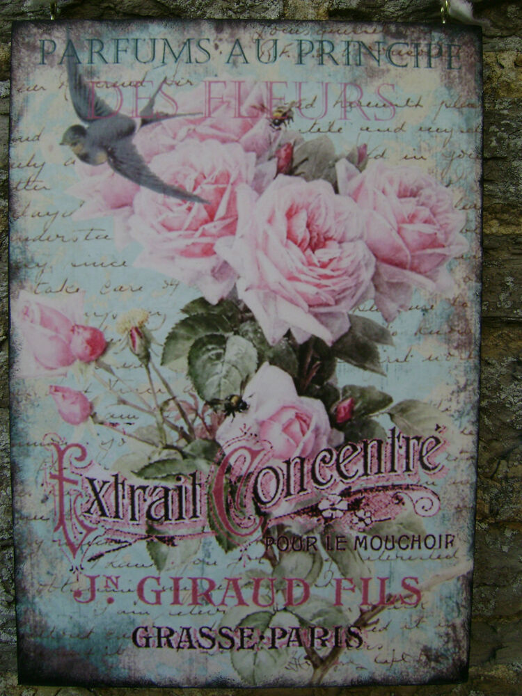 Vintage style french perfume plaque shabby chic roses for Shabby chic wall art