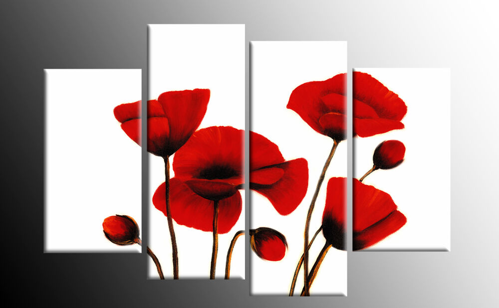 RED WHITE POPPY FLORAL CANVAS WALL ART PICTURE 4 PANEL