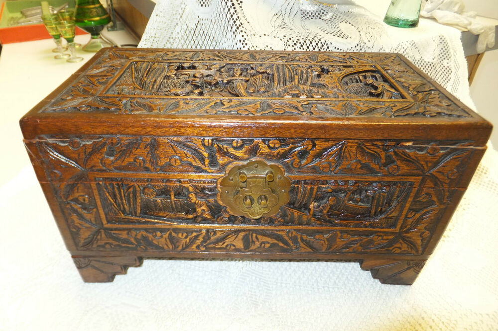 Antique wooden hand carved yu ting good luck chest hong