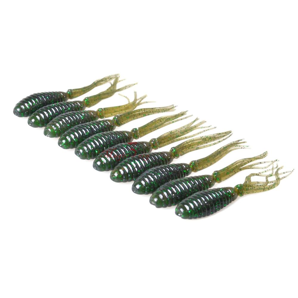 10pcs Freshwater Fishing Soft Lure Worms Tubes Glitter