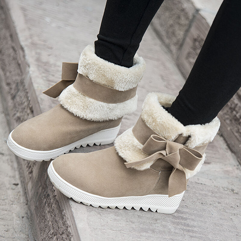 warm winter ankle boots women cute bowtie faux fur low