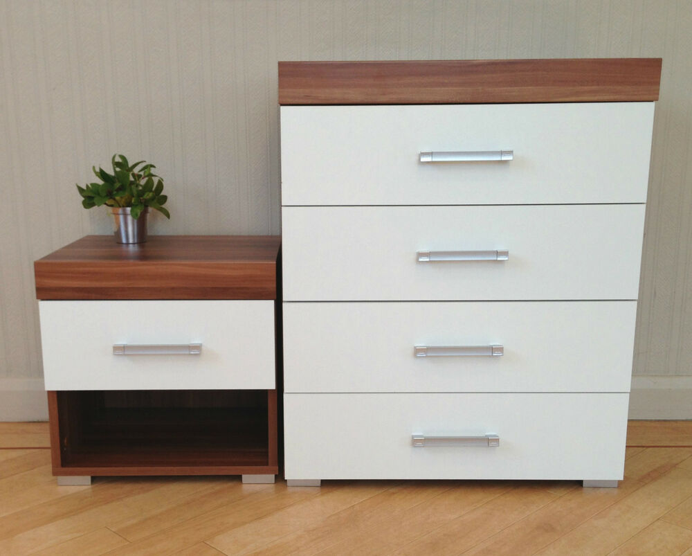 chest of 4 drawers 1 drawer bedside table in white walnut bedroom furniture ebay. Black Bedroom Furniture Sets. Home Design Ideas