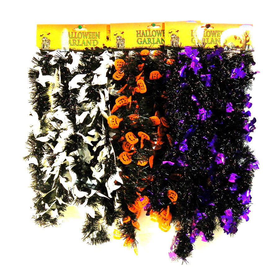 Halloween black garland tinsel party decoration orange