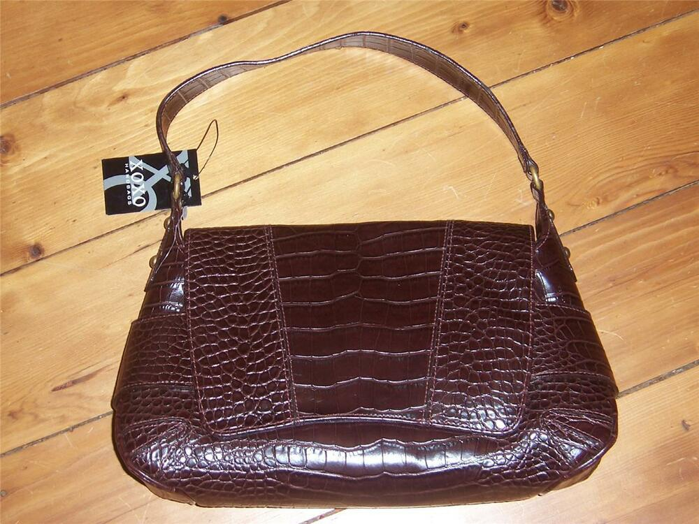 XOXO Brown Faux Leather Alligator Handbag New With Tag