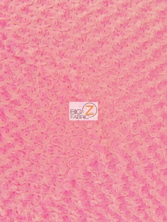 Rose rosette minky fabric candy pink by the yard baby for Baby fabric by the yard
