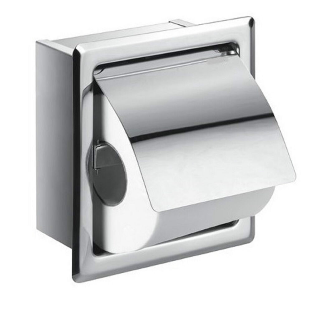 Square Loo Roll Toilet Tissue Paper Holder Recessed