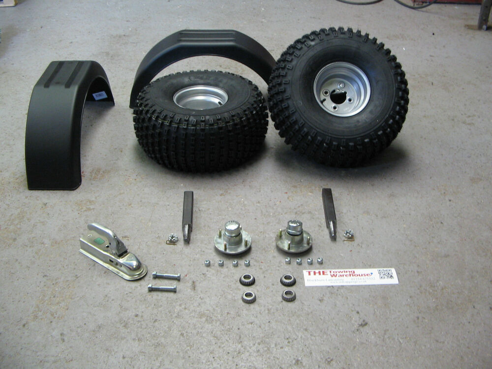 Trailer Axles With Wheels : Self build off road atv quad trailer parts kit wheels