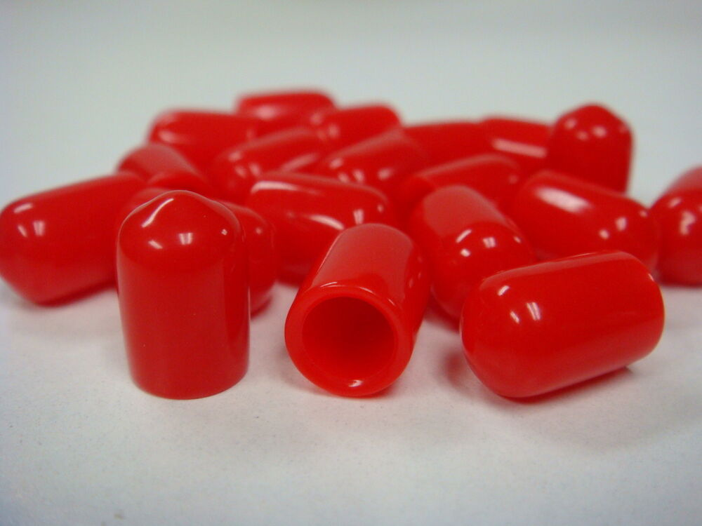 Red plastic covers dust and moisture protective caps