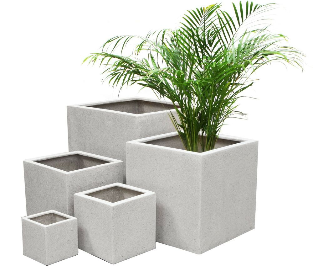 White Poly Terrazzo Cube Planter 3 Sizes Indoor Outdoor