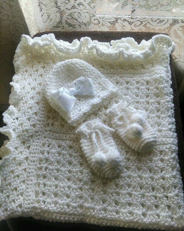 Crocheting Help : BEAUTIFUL HAND CROCHET BABY BLANKET SET YOU PICK COLOR, HELP A CANCER ...