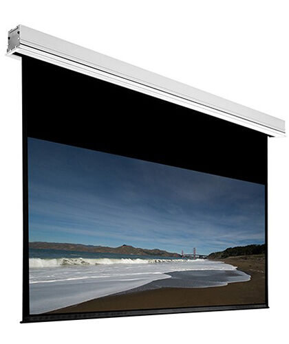120 ceiling recessed motorized projector screen white 16 for Motorized drop down projector screen