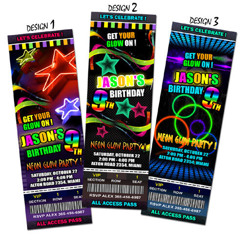 Neon Glow Birthday Party Invitation Ticket Card Invite
