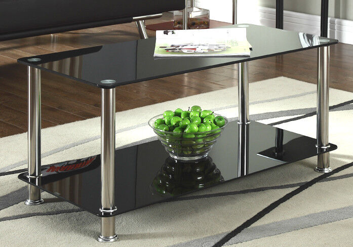 Black glass chrome 2 tier coffee table living room - Glass tables for living room ...