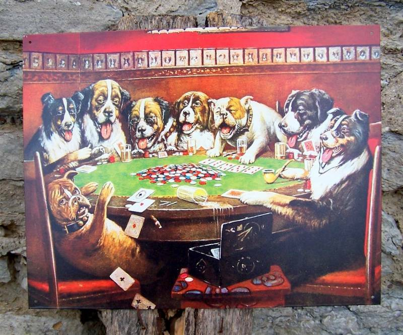 Drunk Dogs Playing Cards Retro Tin Sign Poker Game Room