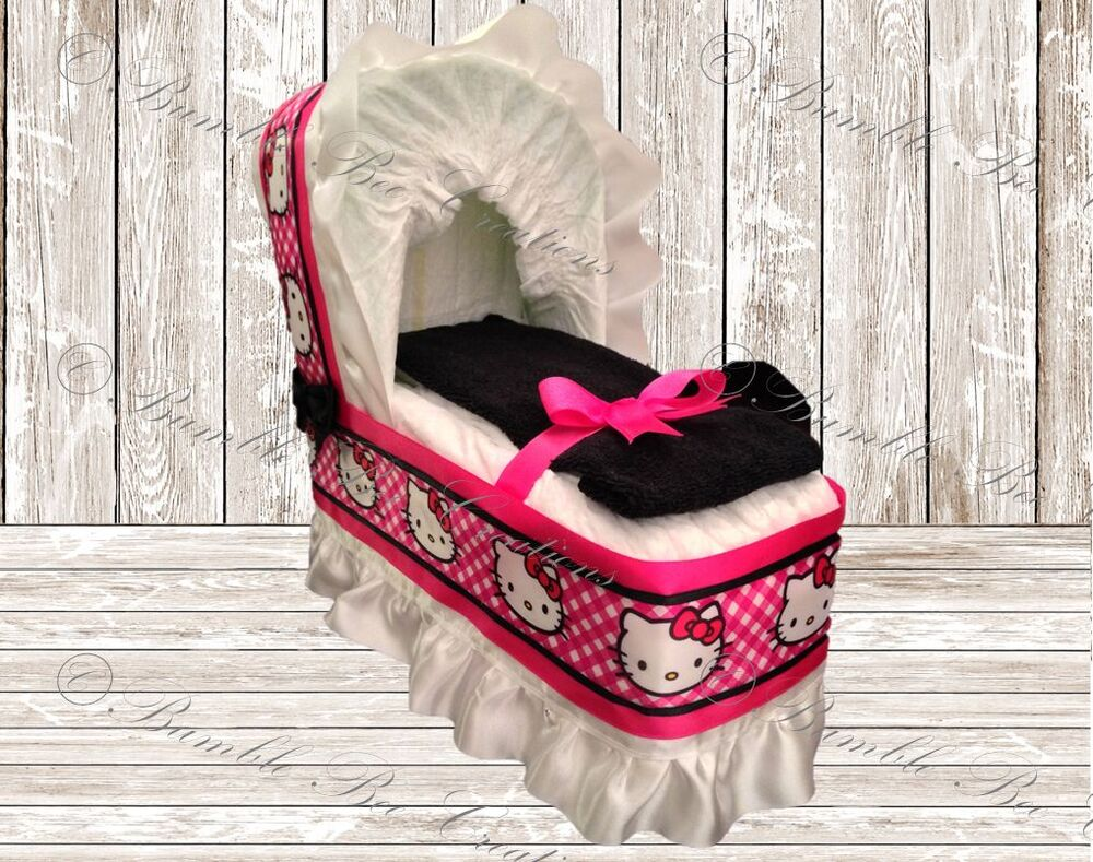 Hello Kitty Hot Pink Black Diaper Bassinet Centerpiece Baby
