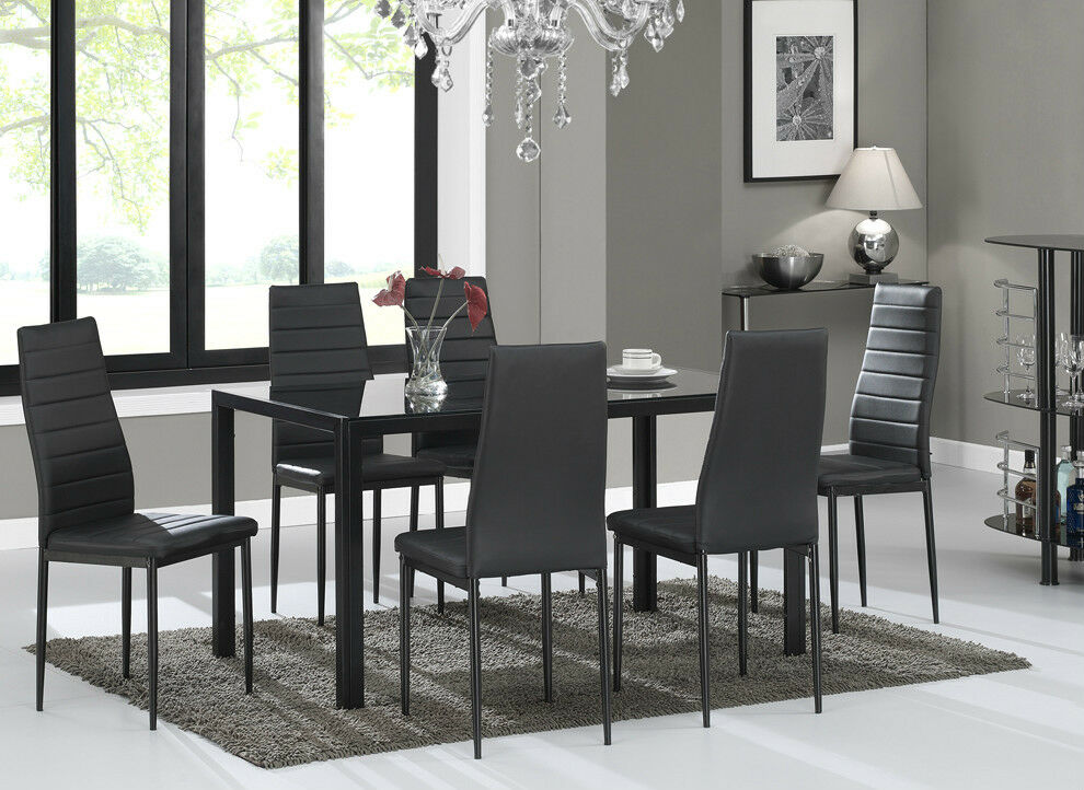 Glass dining table set and with 6 black faux leather for Black glass dining table