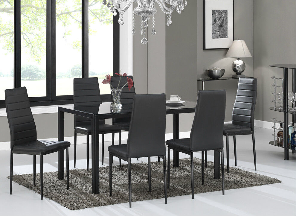 Glass Dining Table Set And With 6 Black Faux Leather
