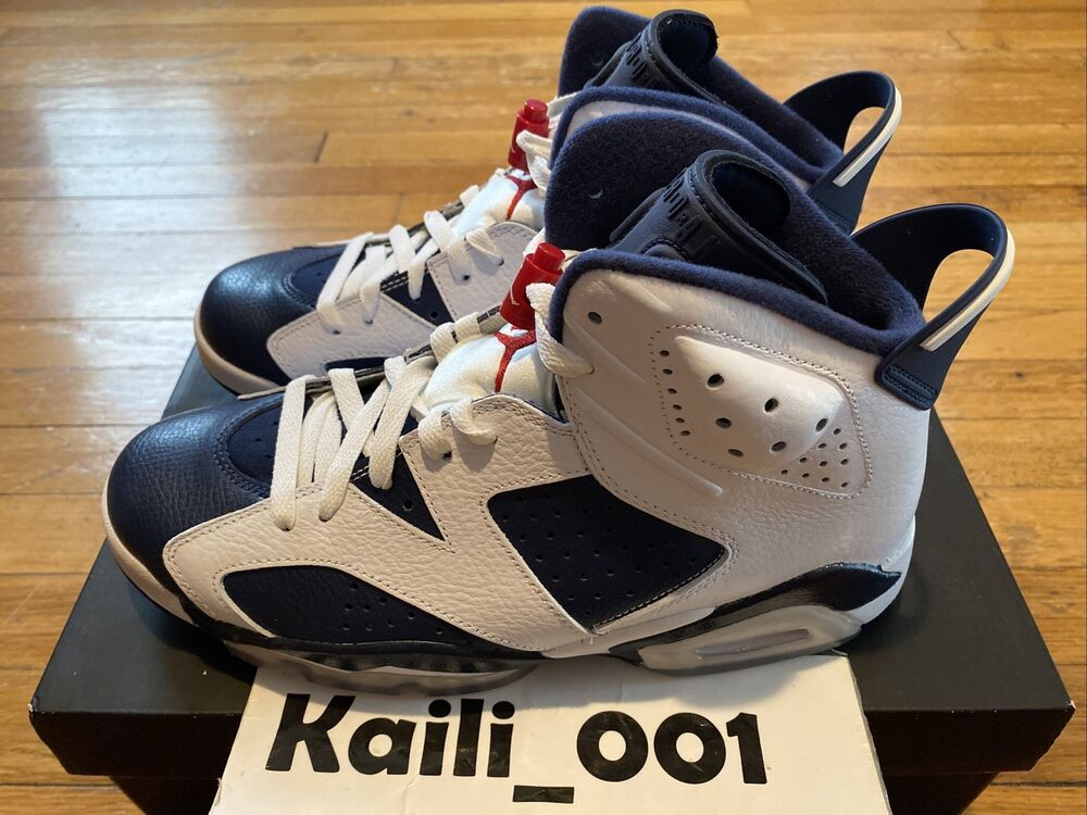 super popular 30fa6 e9def Details about Nike Air Jordan 6 Retro Olympic Infrared DB Blue 384664-130 A
