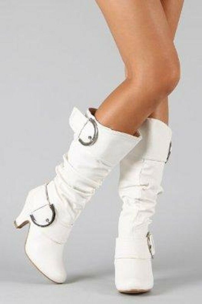 New Womens Mid Knee Calf Faux Leather White High Heel Zip ...