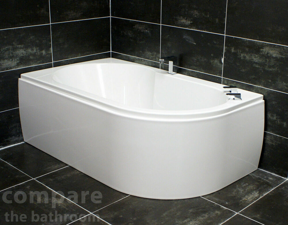 Offset Corner Bath Acrylic 1550 X 900mm White Left Or Right Hand Front Panel