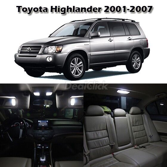 9 white led interior light package for toyota highlander 2001 2007 w free tool ebay. Black Bedroom Furniture Sets. Home Design Ideas