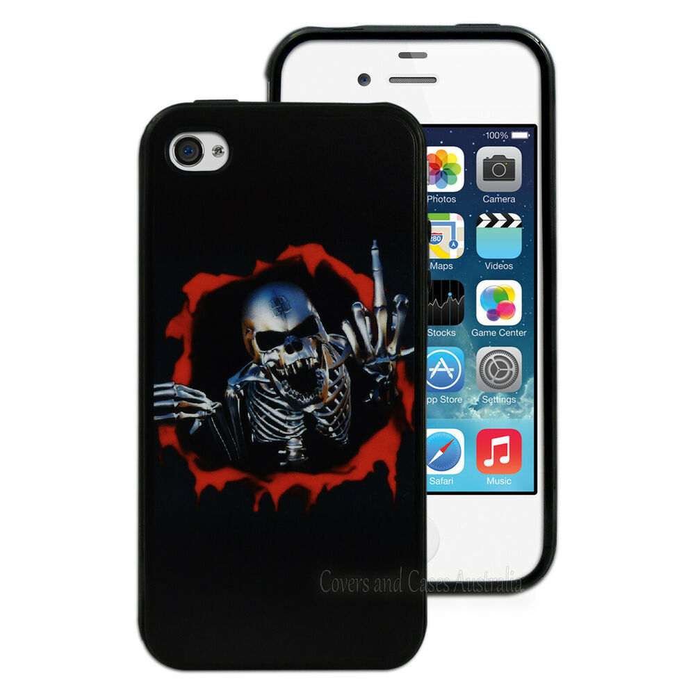 iphone 4 4g black skeleton printed back for apple iphone 4s 10833