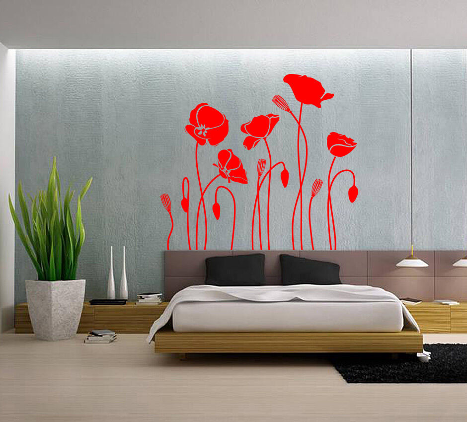 Hand Carvin Poppy Flower Wall Art Wall Stickers Living Room Uk Rui241 Ebay