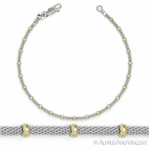 925 sterling silver 14k yellow gold mesh bead link chain