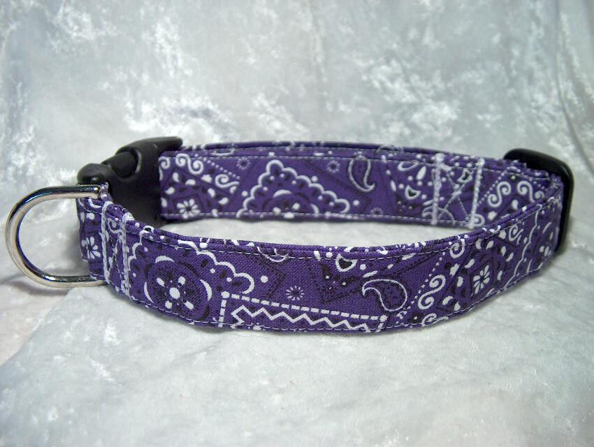 Purple Bandana Handmade Dog Collar Or Cat Collar By Dog