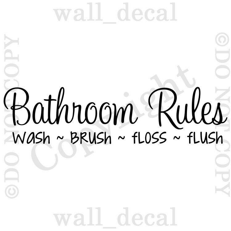Bathroom Rules Wall Decal Vinyl Quote Wash Brush Floss Flush Lettering Words