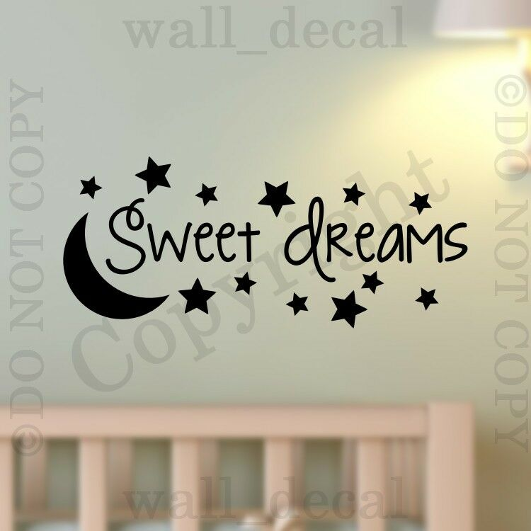 Sweet dreams wall decal vinyl decor words sticker nursery for Decor dreams