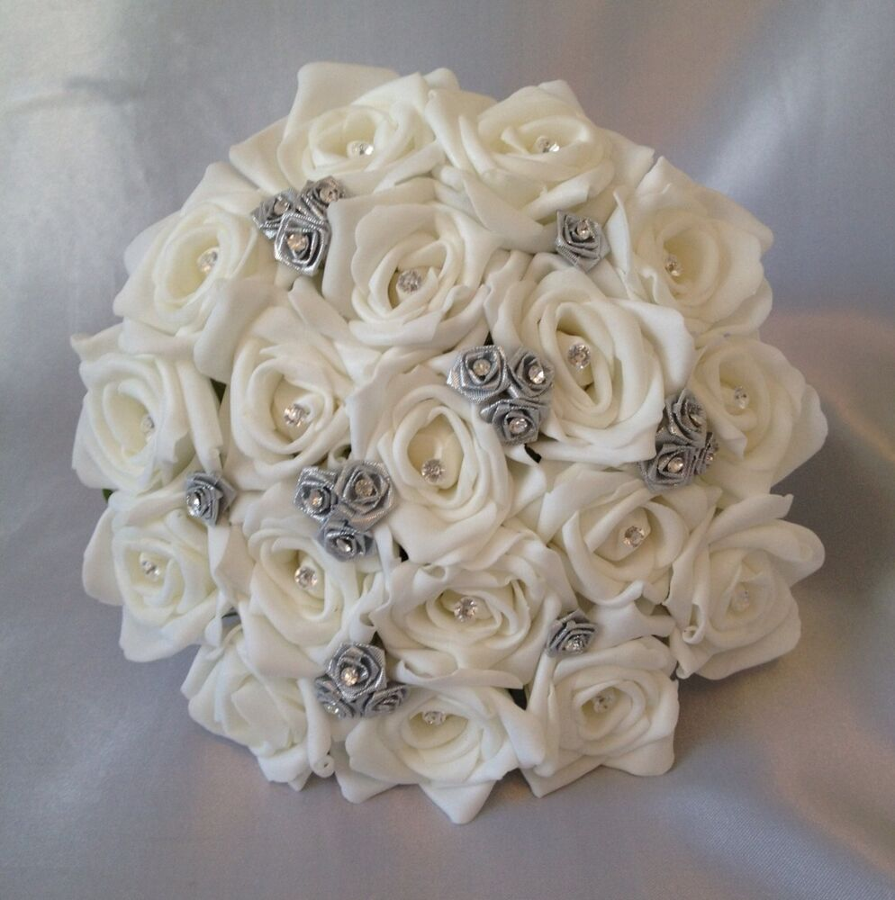 ARTIFICIAL WEDDING FLOWERS SILVER WHITE FOAM ROSE WEDDING BRIDESMAID BOUQUET