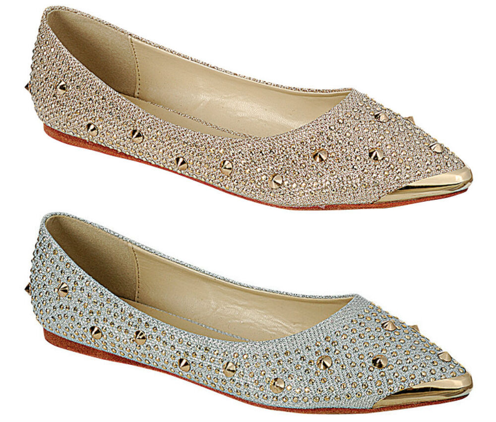 Gold Pointed Flat Shoes