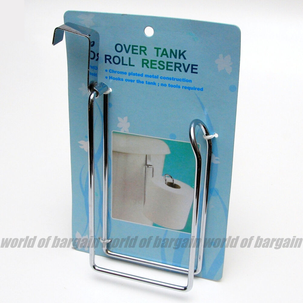 reserve toilet paper holder over the tank hanging metal tissue roll storage h024 ebay. Black Bedroom Furniture Sets. Home Design Ideas
