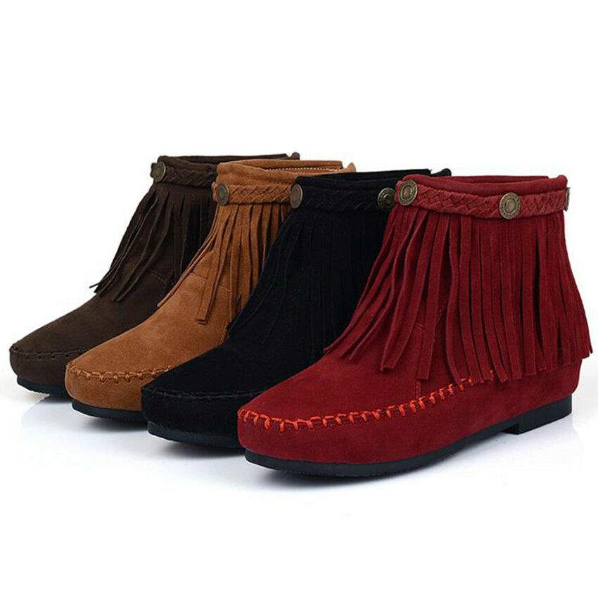 sale womens tassel fringe moccasin boots flat layer