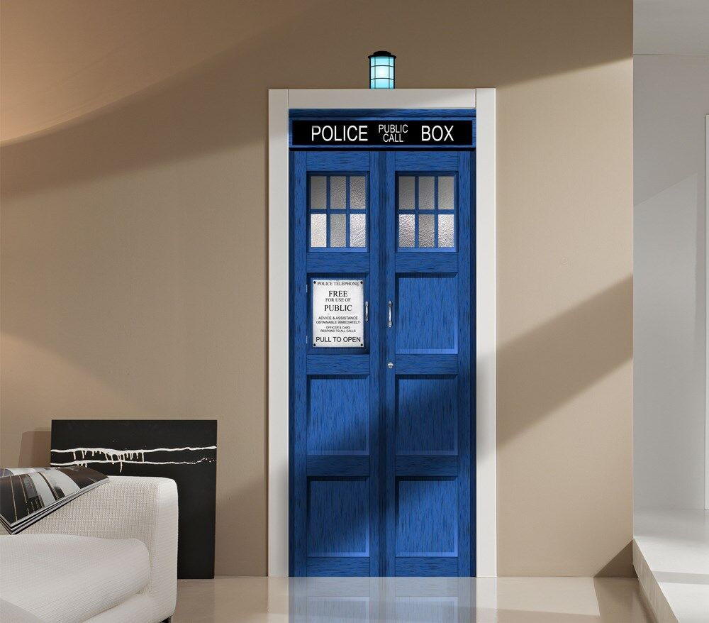 doctor who tardis repositionable door or wall graphic unique sci fi