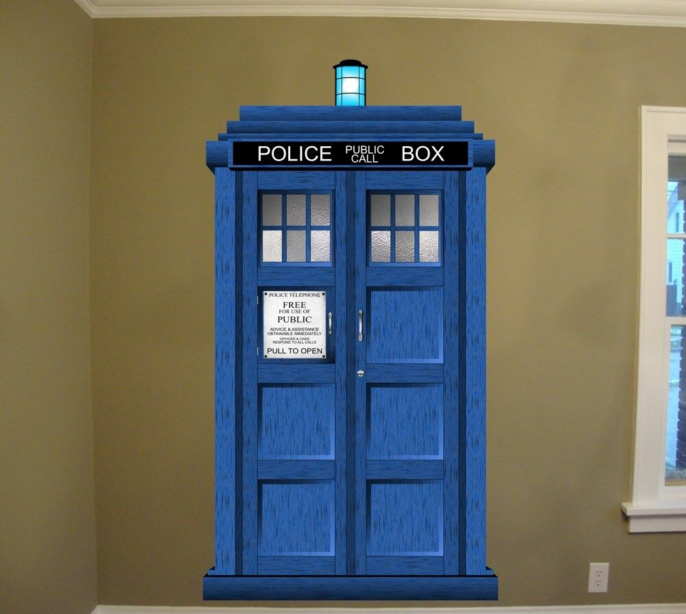 doctor who tardis repositionable large wall graphic 48 w x 88 h tv whovian ebay. Black Bedroom Furniture Sets. Home Design Ideas