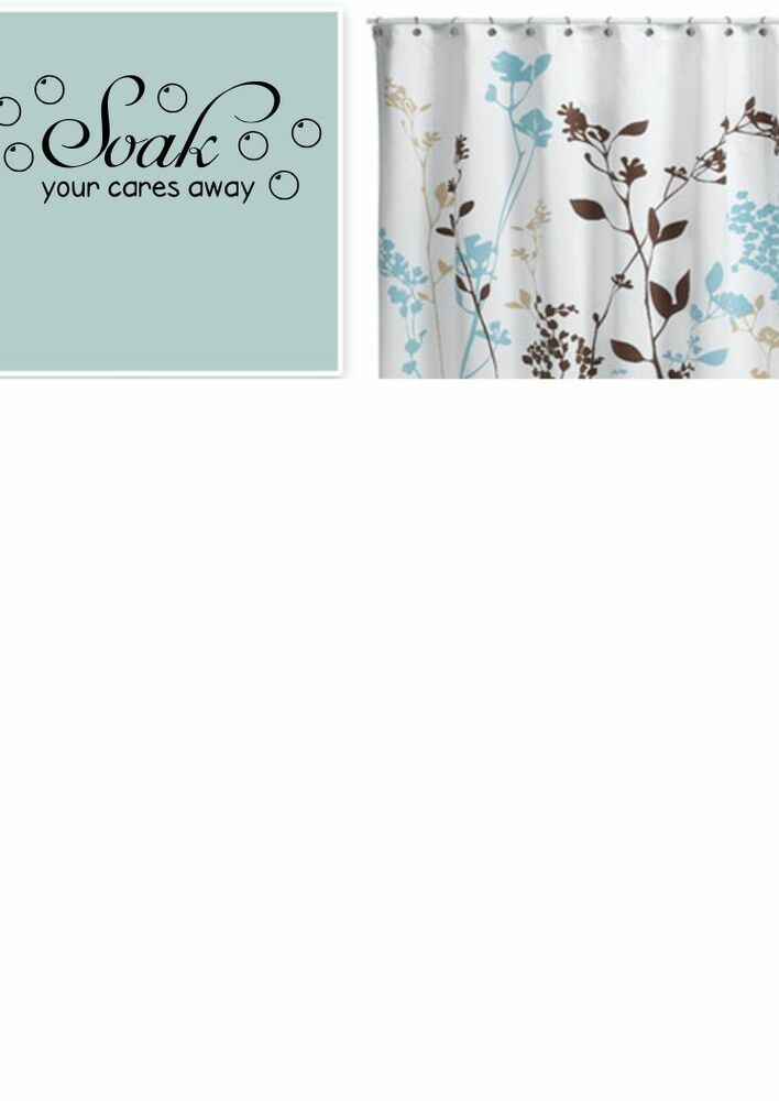Soak your cares away vinyl lettering wall quotes home for Bathroom vinyl decor