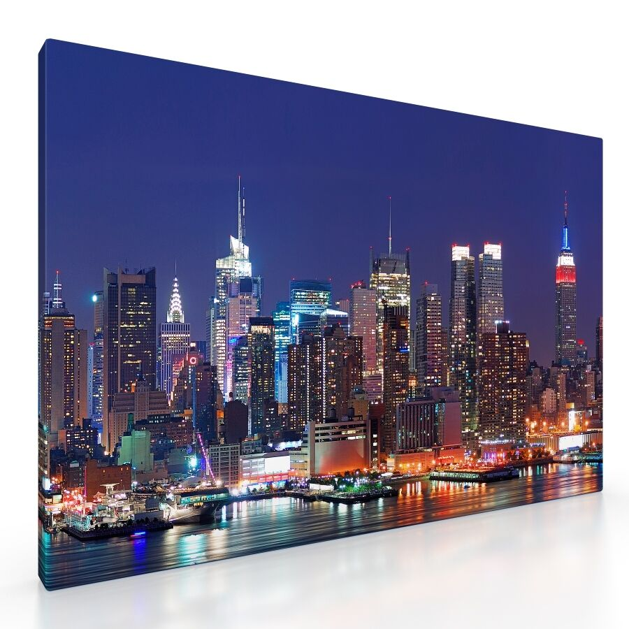 large new york city skyline framed canvas picture print 20x30 cityscape wall art ebay. Black Bedroom Furniture Sets. Home Design Ideas
