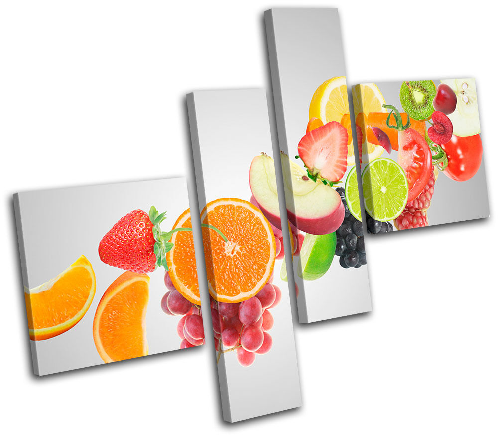 Kitchen Canvas Wall Decor: Fruit Juice Food Kitchen MULTI CANVAS WALL ART Picture