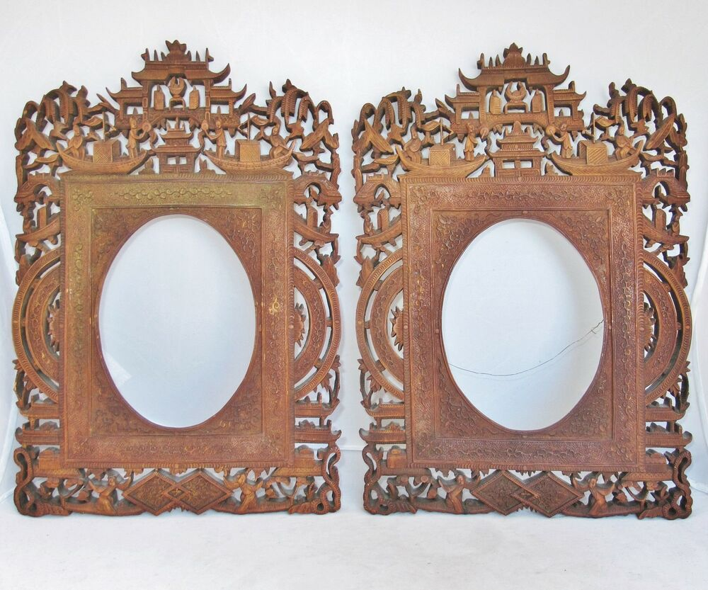 13 1 Quot Pair Antique Chinese Export Carved Wood Frames W