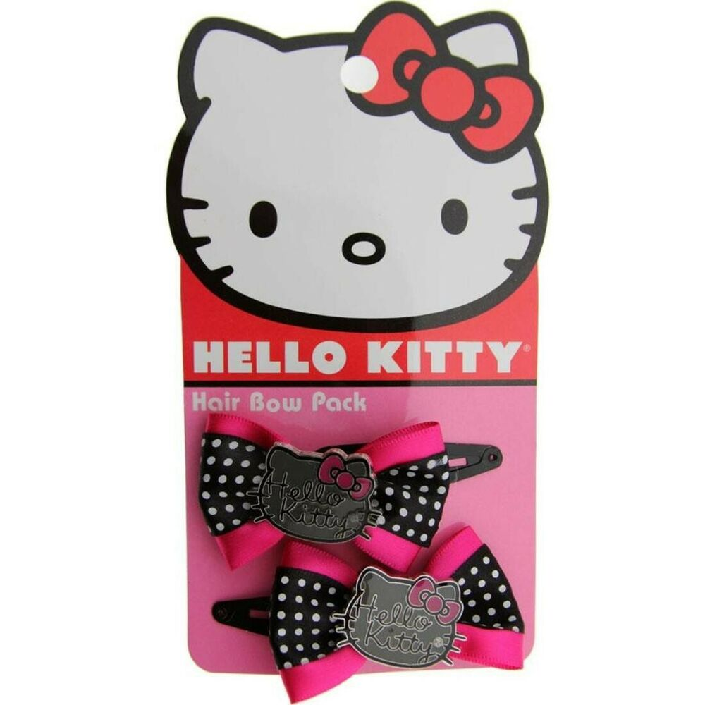 hello kitty limited edition logo hair bow pink black ebay. Black Bedroom Furniture Sets. Home Design Ideas