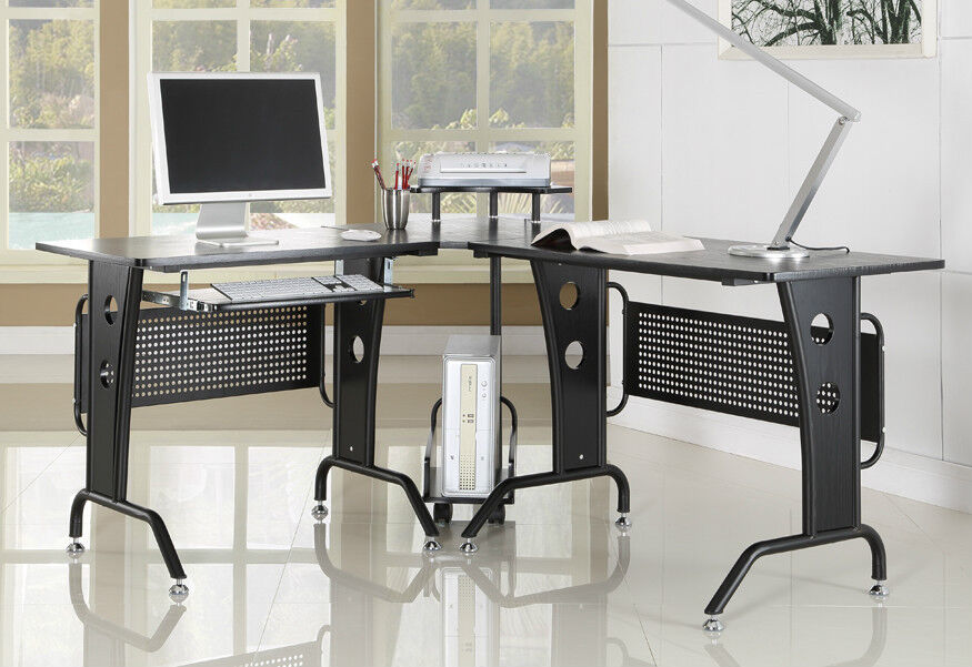 Black Corner Computer Desk New Home Office Furniture With L Shaped Modern Design Ebay