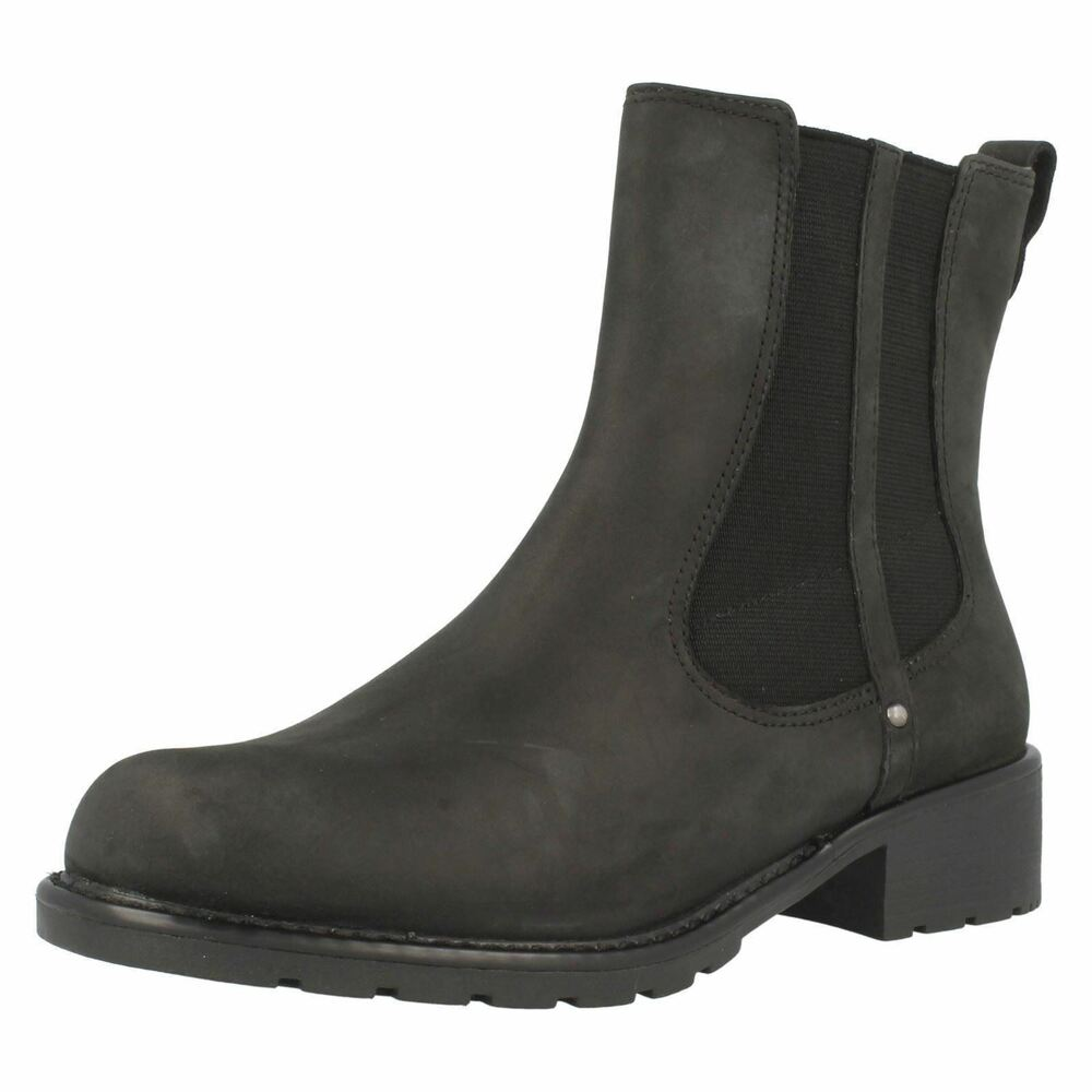 fa1da9e0617c Details about Ladies Clarks Orinoco Club Black Leather Pull On Ankle Boots